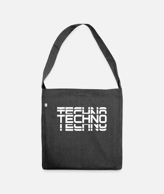 Hardstyle Bags & Backpacks - Techno Techno Techno - Shoulder Bag recycled heather black