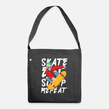Darkslide Eat Sleep Repeat Skateboarding Skateboard Skull - Shoulder Bag recycled
