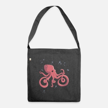 Octopus Octopus rides a bicycle - Shoulder Bag recycled