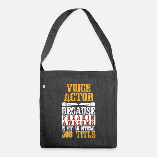 Actor Bags & Backpacks - Voice actor voice actor job profession - Shoulder Bag recycled heather black