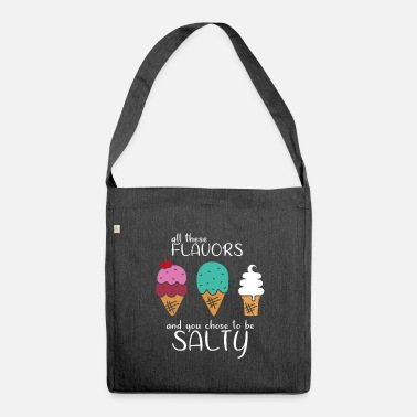 Ice Cream Salty Pun Funny Sayings Gift - Schoudertas van gerecycled materiaal