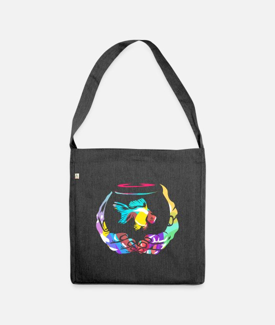 Clean Bags & Backpacks - Aquaristik Polygon - Shoulder Bag recycled heather black