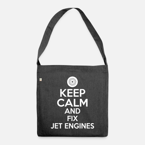 Birthday Bags & Backpacks - Plane mechanic aircraft mechanic gift - Shoulder Bag recycled heather black