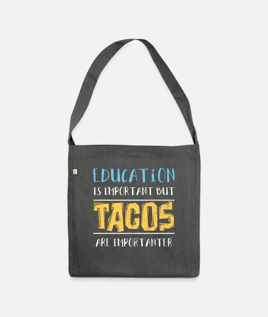 Mexican Bags & Backpacks - Tacos Tacos Tacos Tacos Tacos - Shoulder Bag recycled dark grey heather