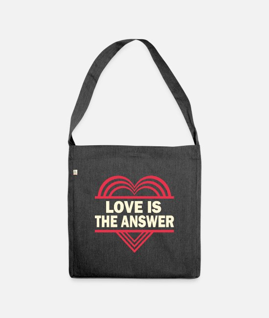 Heart Bags & Backpacks - LOVE IS THE ANSWER - Shoulder Bag recycled heather black