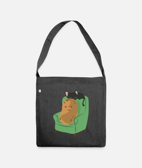 Easter Bags & Backpacks - Potato cats kittens - Shoulder Bag recycled heather black