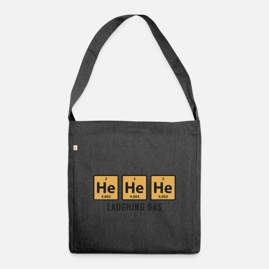 Symbol  Bags & Backpacks - Science Chemical He He He Laughing Gas Funny Gift - Shoulder Bag recycled heather black