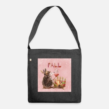Autumn Autumn friends - hedgehog with tea - Shoulder Bag recycled
