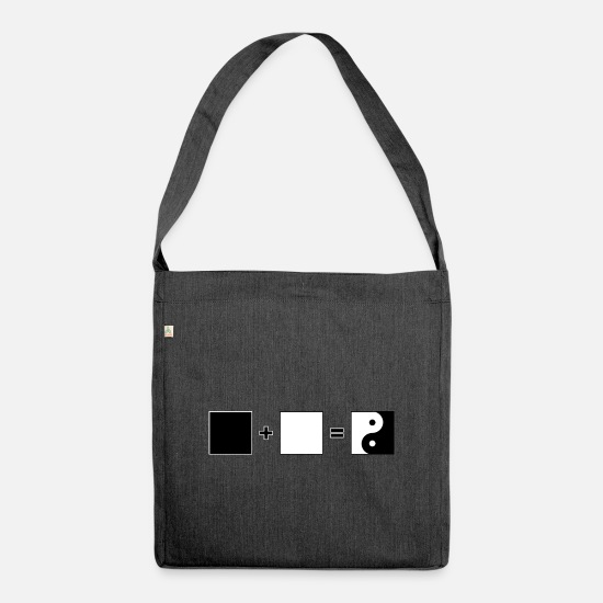 Gift Idea Bags & Backpacks - Black + White = Yin Yang | Tao - Shoulder Bag recycled heather black