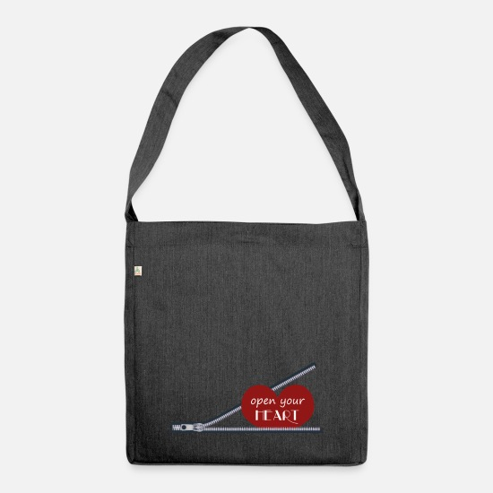 Red Bags & Backpacks - open your heart, open your heart - Shoulder Bag recycled heather black
