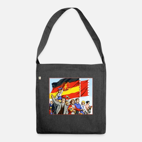 Flag Bags & Backpacks - DDR parade - Shoulder Bag recycled heather black