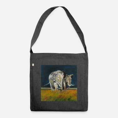 Two savanna elephants - Shoulder Bag recycled