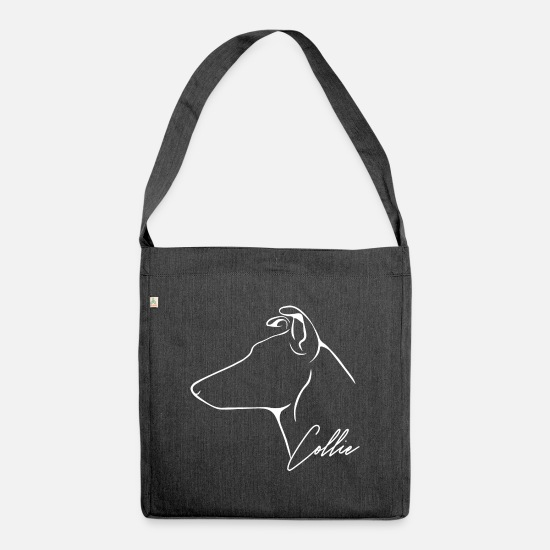 Dog Owner Bags & Backpacks - Shorthair COLLIE Wilsigns Profile Dogs Dog - Shoulder Bag recycled heather black