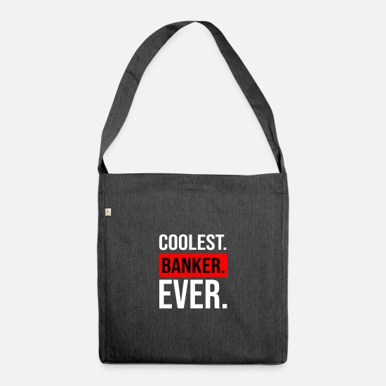 Gift Idea Bags & Backpacks - Banker banker gift professional businessman coolest - Shoulder Bag recycled heather black