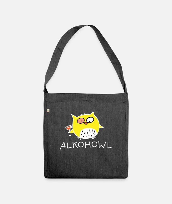 Wine Bags & Backpacks - Owl with alcohol (b) - Shoulder Bag recycled heather black