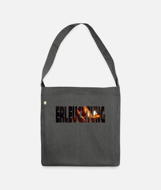 Love Bags & Backpacks - enlightenment lettering - Shoulder Bag recycled dark grey heather