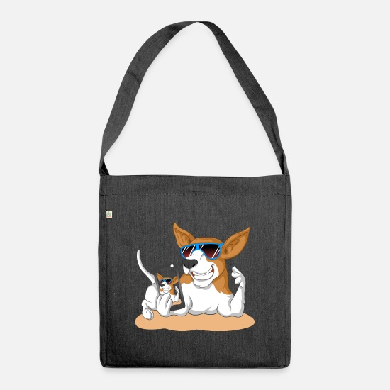 Beagle Bags & Backpacks - dog mobile beagle sunglasses gift idea gassi - Shoulder Bag recycled heather black