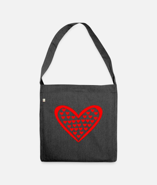 Heart Bags & Backpacks - Heart in the heart - Shoulder Bag recycled heather black