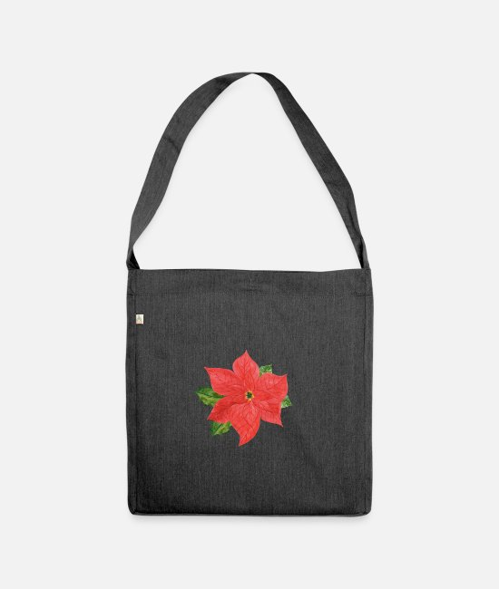 Snowman Bags & Backpacks - Poinsettia plant - Shoulder Bag recycled heather black