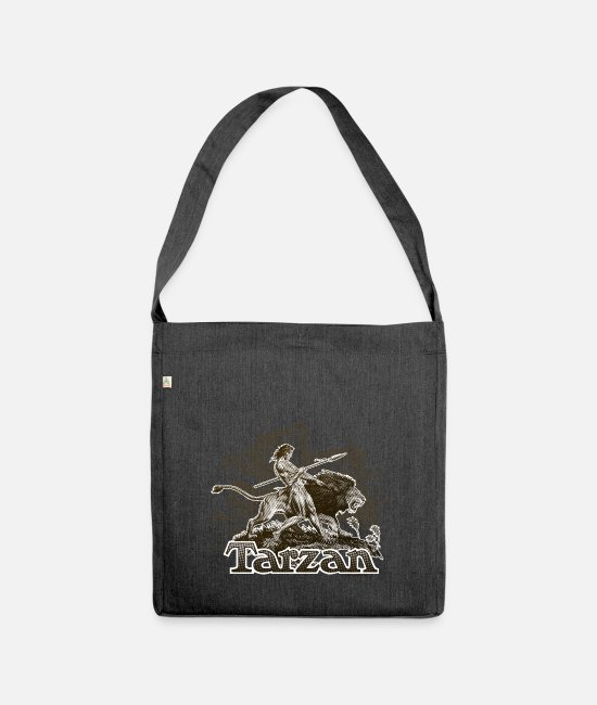 Friendship Bags & Backpacks - Tarzan and a wild lion - Shoulder Bag recycled heather black
