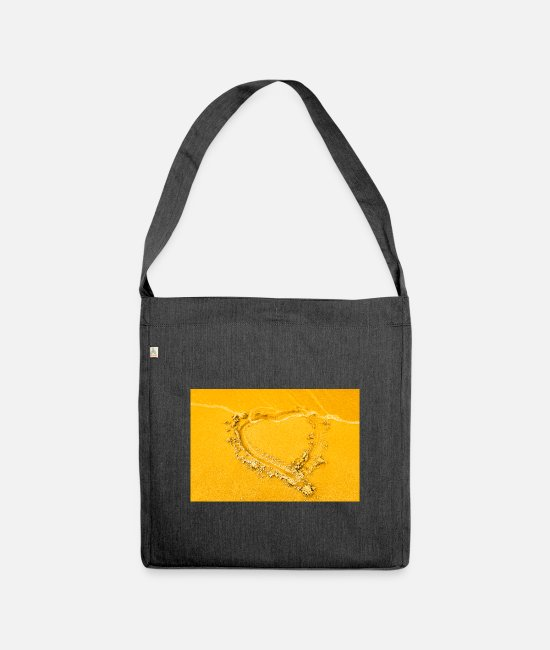Water Bags & Backpacks - Heart in the sand - Shoulder Bag recycled heather black