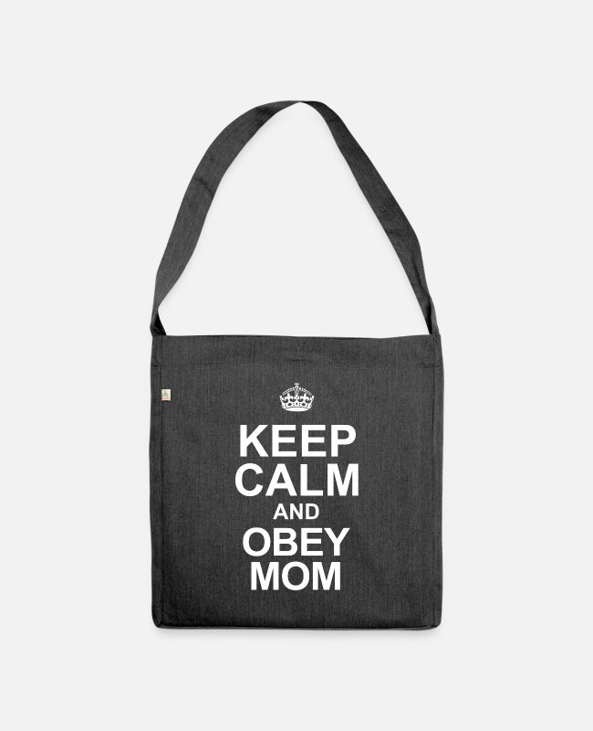 Pregnancy Bags & Backpacks - KEEP CALM AND OBEY MOM - Shoulder Bag recycled heather black