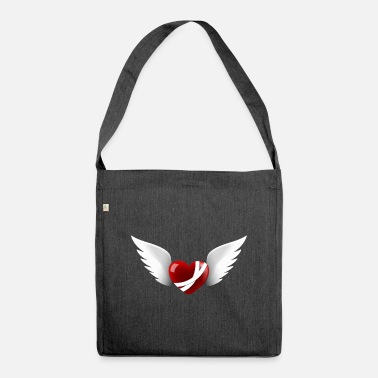 Angel's Wings wounded heart with wings - Shoulder Bag recycled