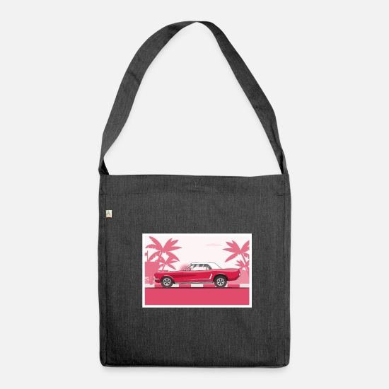 Automobile Bags & Backpacks - Retro car - Shoulder Bag recycled heather black
