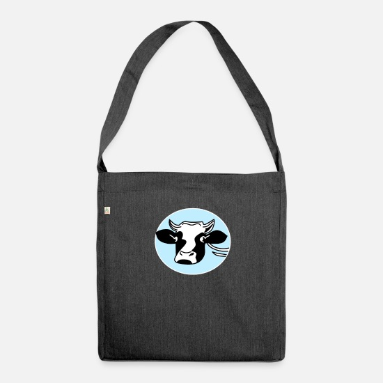 Birthday Bags & Backpacks - Farmer farmer cow - Shoulder Bag recycled heather black