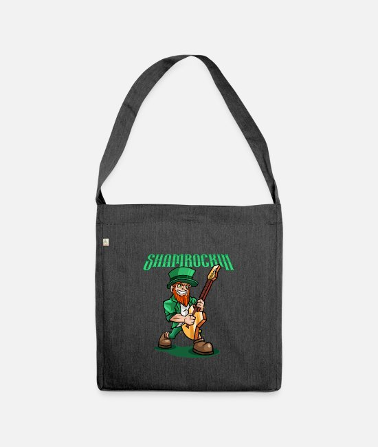 Boston Bags & Backpacks - Shamrockin - Rocking Leprechaun With EGuitar - Shoulder Bag recycled heather black