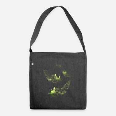 green feather feathers - Shoulder Bag recycled