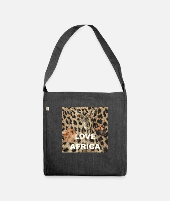 Wild Bags & Backpacks - I love africa animals, wildlife - Shoulder Bag recycled heather black