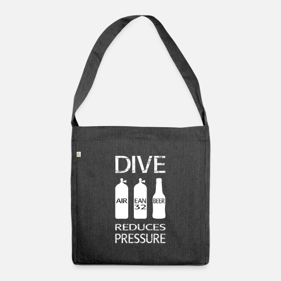 Diving Bags & Backpacks - Diving reduces pressure - Shoulder Bag recycled heather black