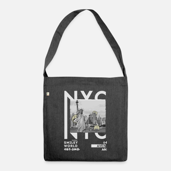 Officialbrands Bags & Backpacks - Smileyworld 'New York Statue of Liberty' - Shoulder Bag recycled heather black
