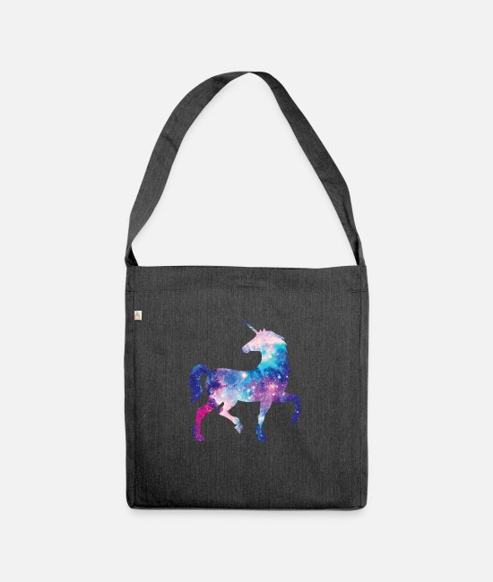 Galaxy Bags & Backpacks - Unicorn with constellation design - Shoulder Bag recycled heather black