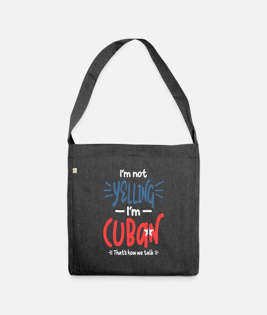 Pride Bags & Backpacks - I'm Not Yelling I'm Cuban - Shoulder Bag recycled heather black