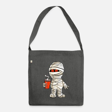 Mummy with coffee i halloween - Shoulder Bag recycled