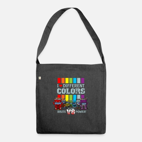 Love Bags & Backpacks - i love different colors if it has brute v8 power b - Shoulder Bag recycled heather black