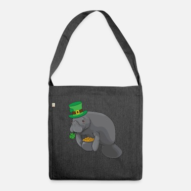 Funny Manatee St.Patrick's Day Leprechaun Gift - Skuldertaske af recycling-material