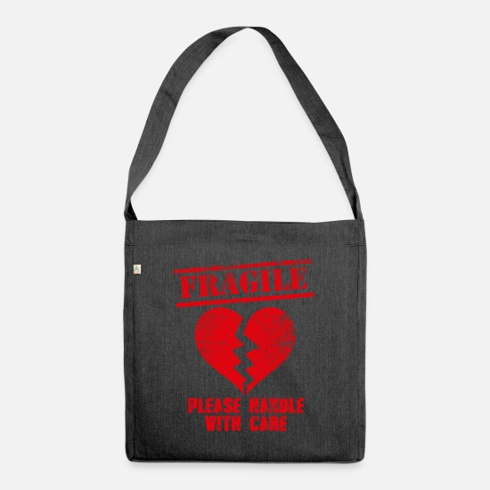 Love Bags & Backpacks - Love, heartache, heart, gift, gift idea - Shoulder Bag recycled heather black