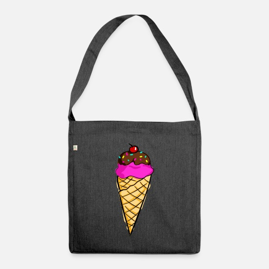 Heat Bags & Backpacks - Ice cream in ice cream cone - Shoulder Bag recycled heather black