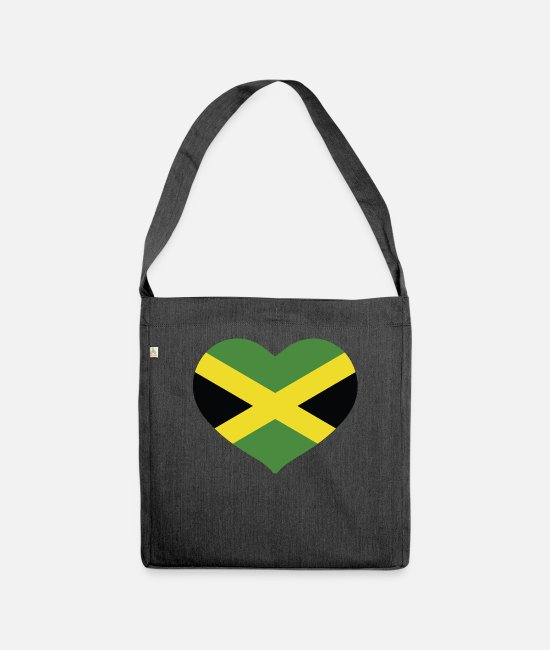 English Bags & Backpacks - HEART JAMAICA - Shoulder Bag recycled heather black
