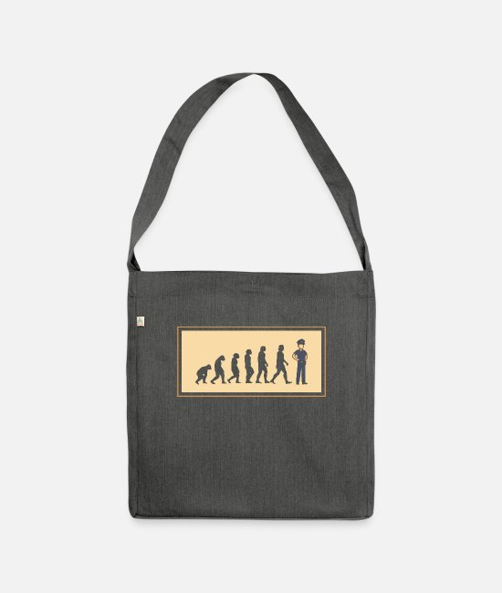 Evolution Of Policewoman Bags & Backpacks - Police evolution policeman - Shoulder Bag recycled dark grey heather