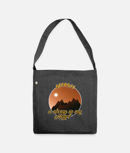 Travel Bags & Backpacks - Georgia forever in the heart - Shoulder Bag recycled heather black