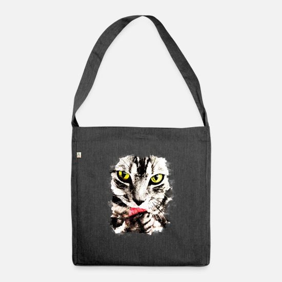 Fur Bags & Backpacks - GXP Cat licks perfectly cat licks perfectly - Shoulder Bag recycled heather black