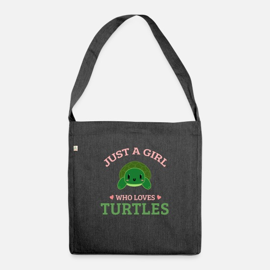 Small Bags & Backpacks - Funny Turtle - Just a Girl Who Loves Turtles - Shoulder Bag recycled heather black