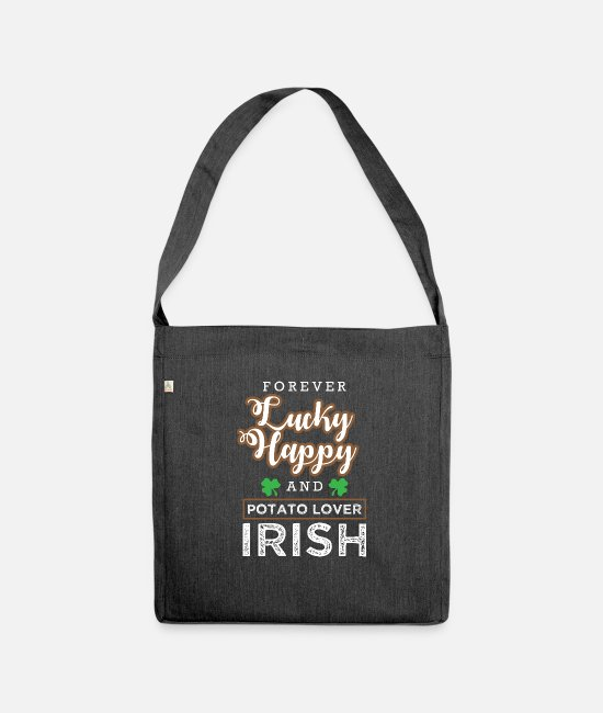 2019 Designs Bags & Backpacks - Potato lovers Irish food gift - Shoulder Bag recycled heather black