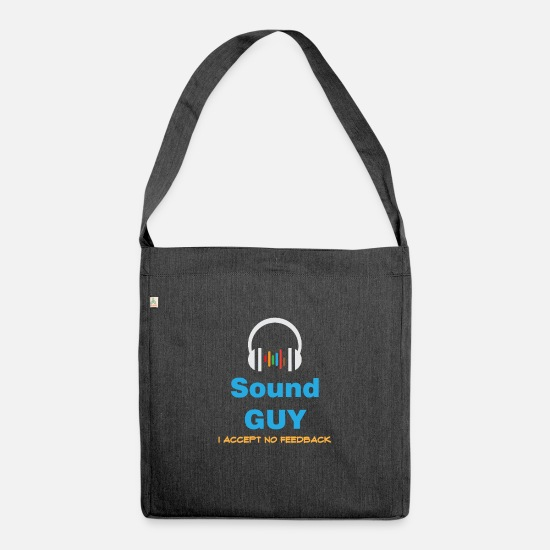 No Bags & Backpacks - Funny Feedback Tshirt Designs Sound Guy - Shoulder Bag recycled heather black
