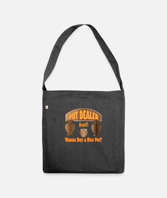 Hemp Bags & Backpacks - Pot dealer - Shoulder Bag recycled heather black