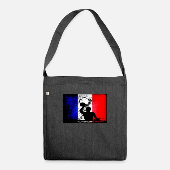 Gift Idea Bags & Backpacks - France flag beach ball gift - Shoulder Bag recycled heather black